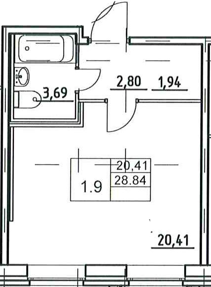 Студия, 28.82 м²– 2