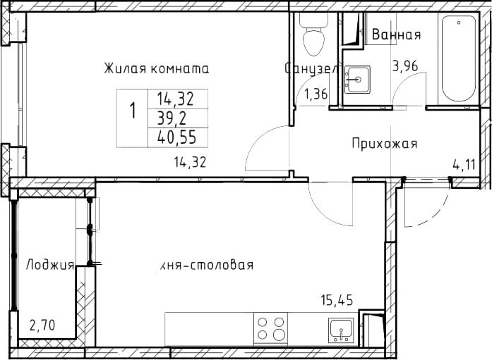 2-к.кв (евро), 41.9 м²