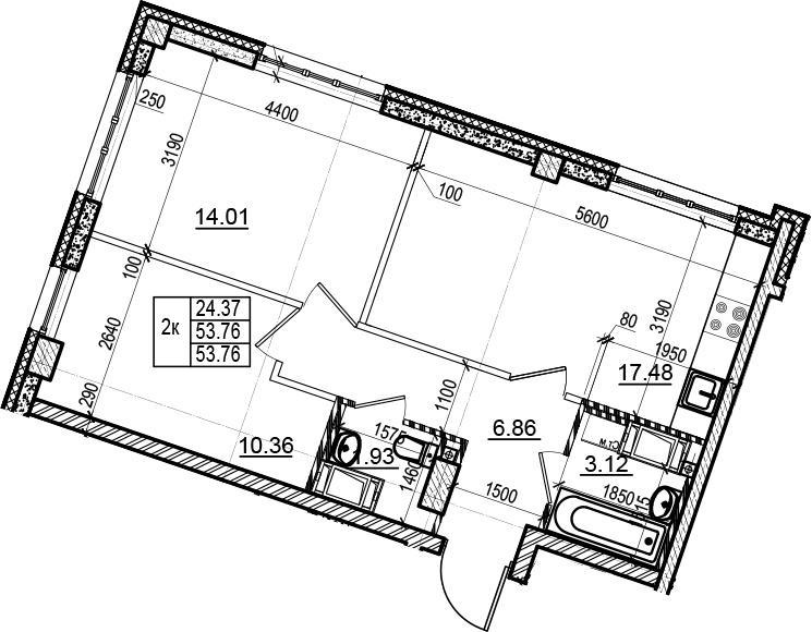 3Е-комнатная, 53.76 м²– 2
