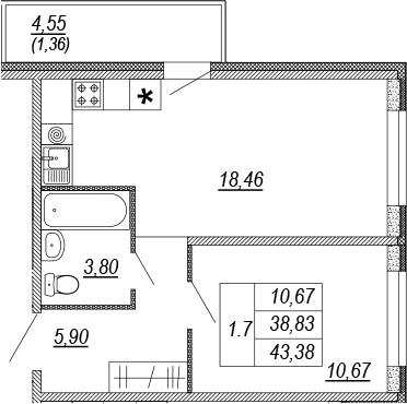 2Е-комнатная, 38.83 м²– 2