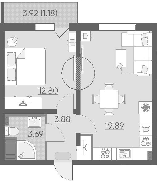 2-к.кв (евро), 44.19 м²