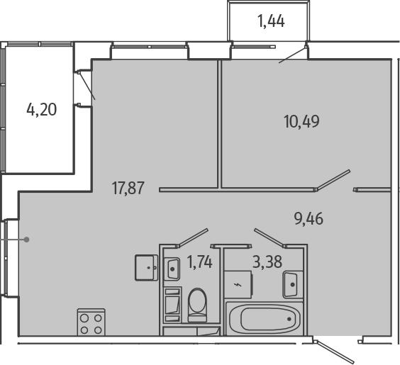 2Е-комнатная, 45.47 м²– 2