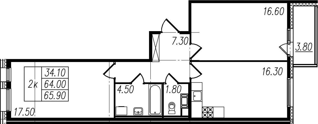 2-к.кв, 64 м²