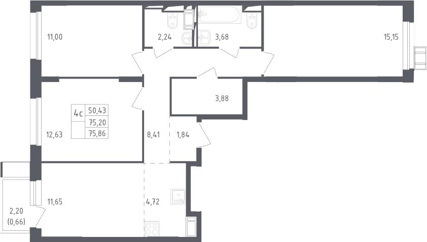 4Е-комнатная, 75.86 м²– 2