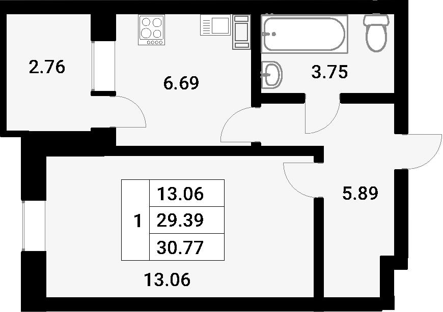 1-к.кв, 30.77 м²