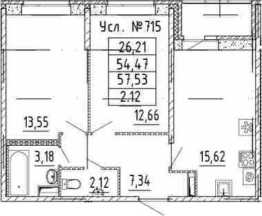 3Е-к.кв, 54.47 м²