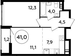 2Е-комнатная, 41 м²– 2