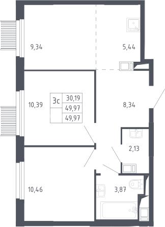 3Е-комнатная, 49.97 м²– 2