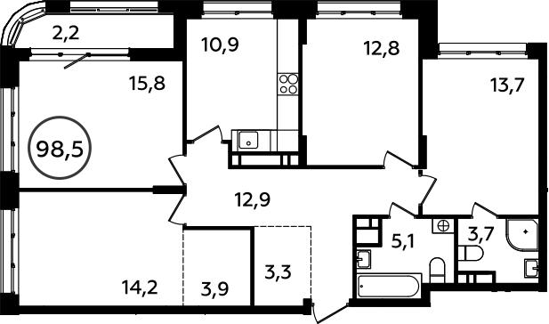 4-к.кв, 98.5 м²