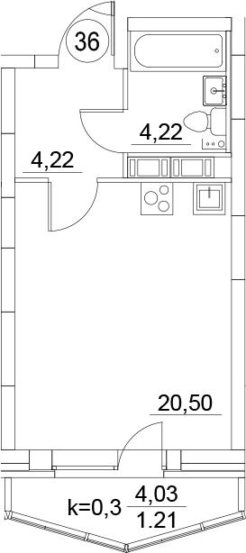 Студия, 30.15 м², 12 этаж