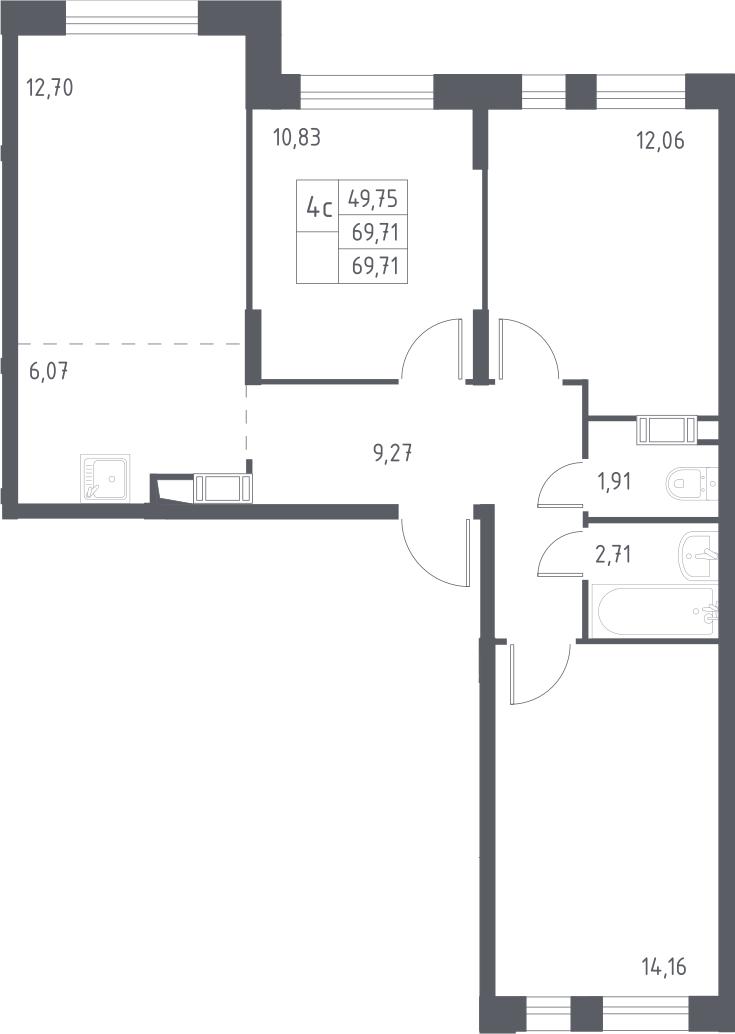 4Е-комнатная, 69.71 м²– 2