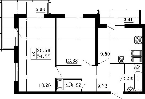 2-комнатная, 59.02 м²– 2