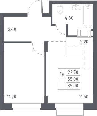 2Е-к.кв, 35.9 м², 6 этаж