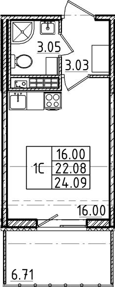 Студия, 22.08 м²