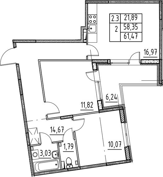 3-к.кв (евро), 64.59 м²