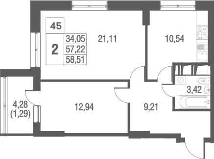 2-комнатная, 58.51 м²– 2