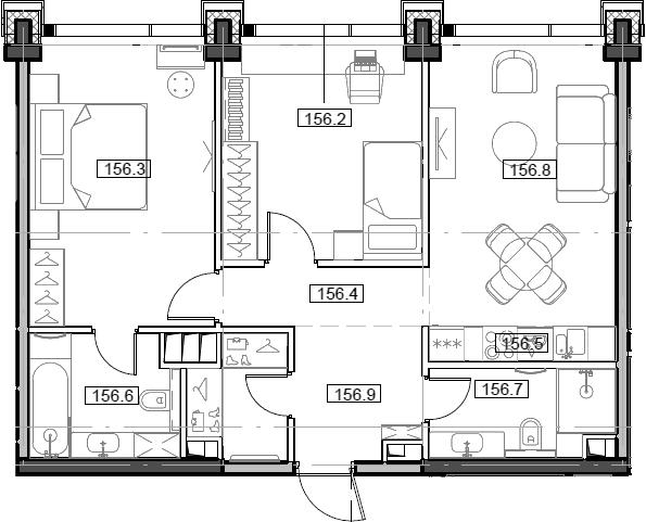 3Е-комнатная, 64.9 м²– 2
