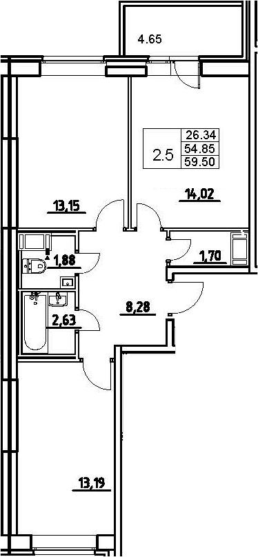 3-к.кв (евро), 59.5 м²