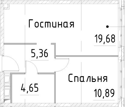 2Е-к.кв, 40.57 м², 21 этаж