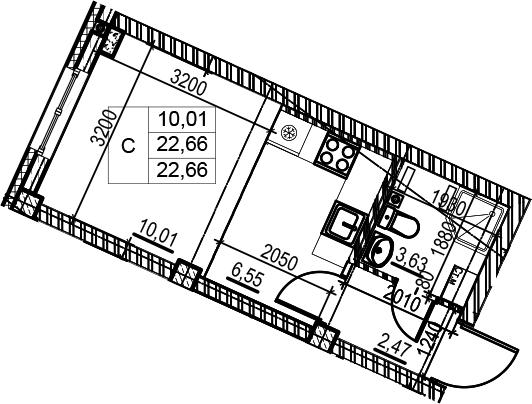 Студия, 22.66 м²