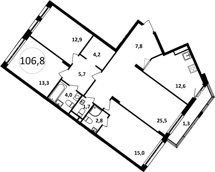 4-к.кв, 109.83 м²