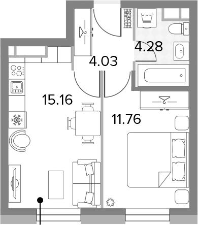 2Е-к.кв, 35.23 м², 8 этаж