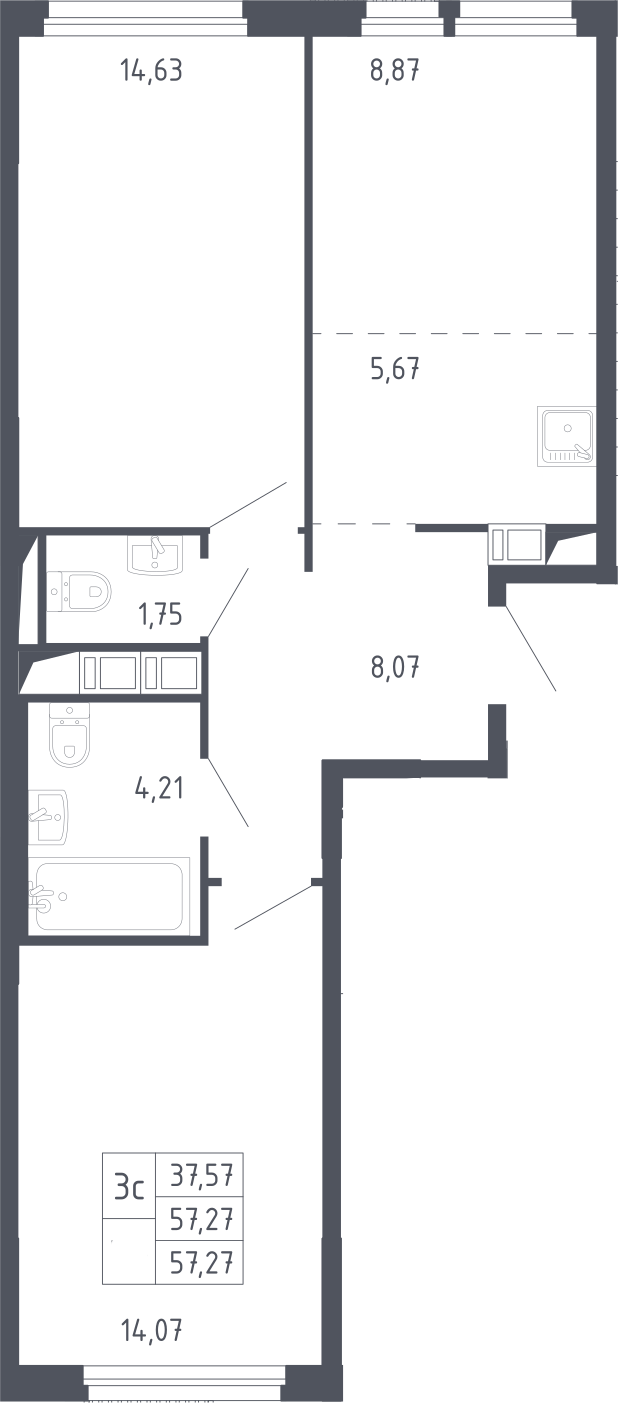 3Е-к.кв, 57.27 м², 17 этаж