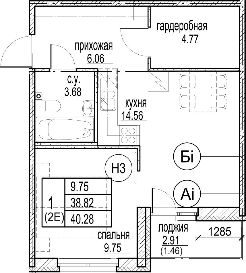 2Е-комнатная, 40.28 м²– 2
