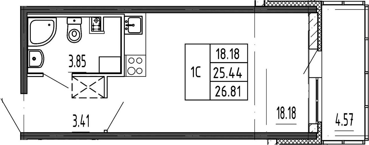 Студия, 25.44 м²