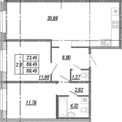 3Е-к.кв, 69.45 м², 1 этаж