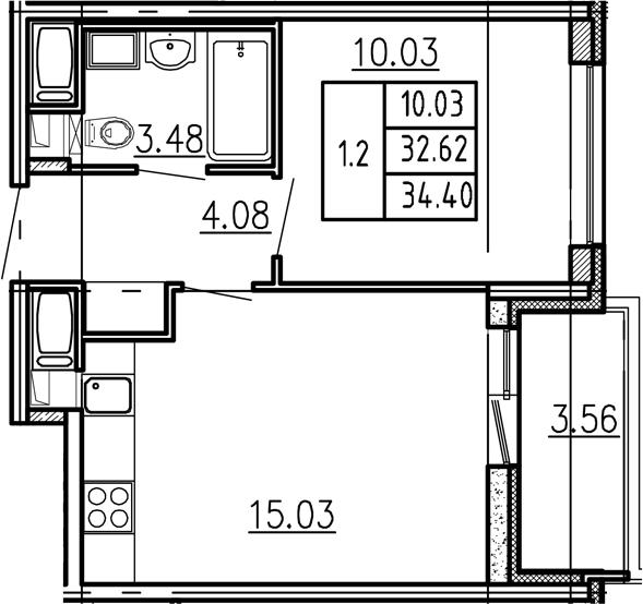 2-к.кв (евро), 36.18 м²