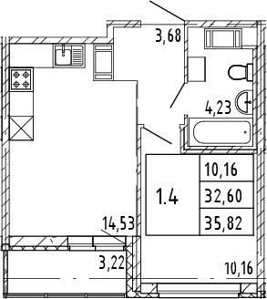 2Е-к.кв, 32.6 м², от 3 этажа
