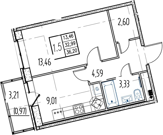 1-комнатная, 32.99 м²– 2