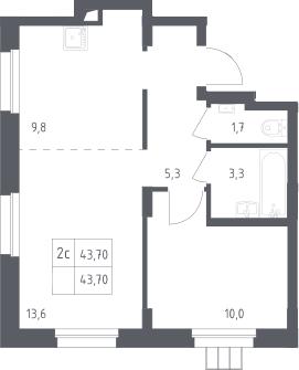 2Е-комнатная, 43.7 м²– 2