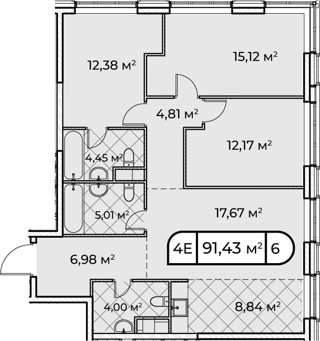 4Е-комнатная, 91.43 м²– 2