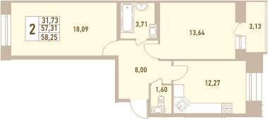 2-к.кв, 58.25 м²