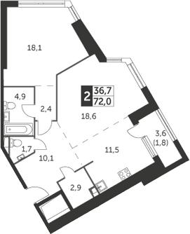 2-к.кв, 72 м², 23 этаж