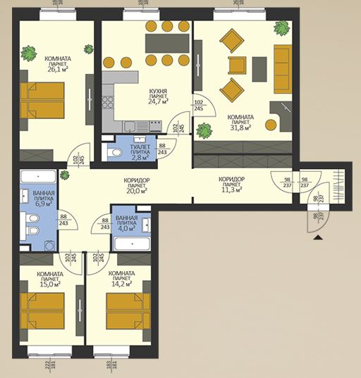 4-к.кв, 160.4 м²