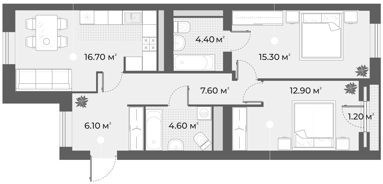 3Е-к.кв, 67.6 м², 4 этаж