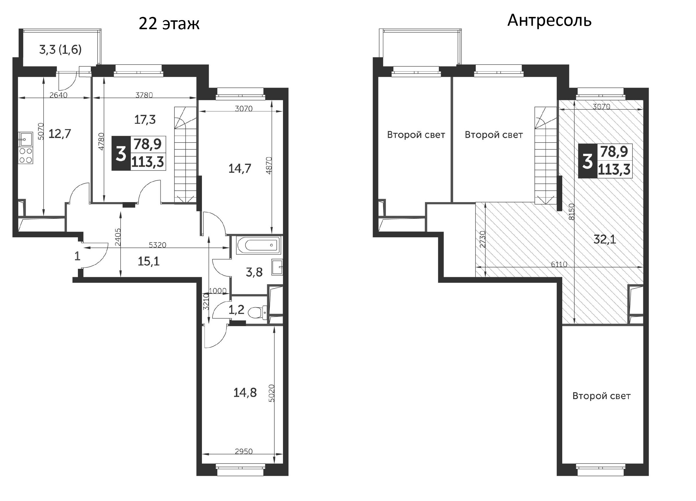 3-к.кв, 113.3 м²