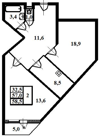 2-к.кв, 57 м²