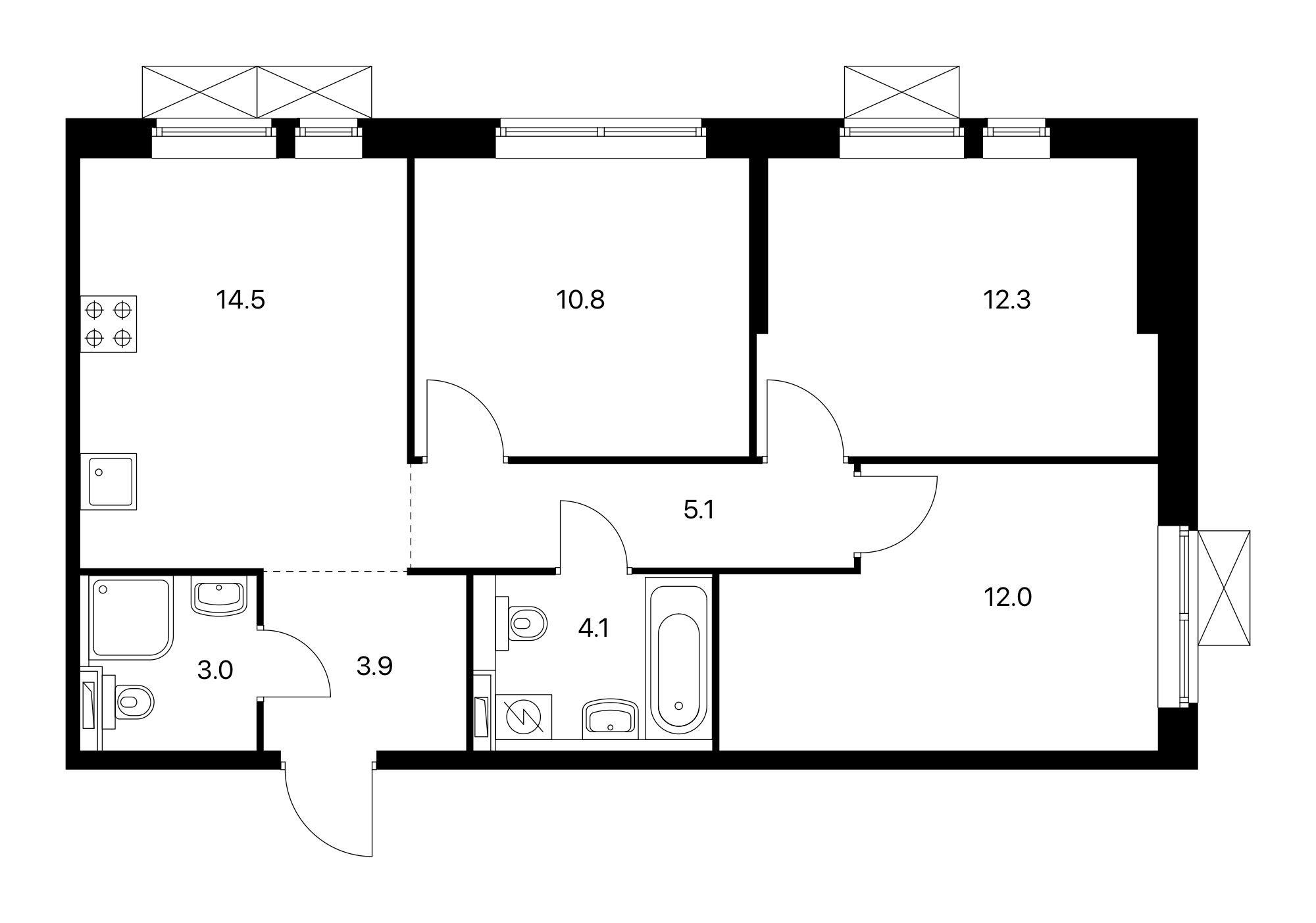 3-комнатная, 65.7 м²– 2