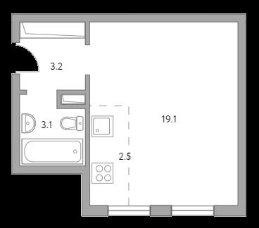 Студия, 27.9 м²– 2