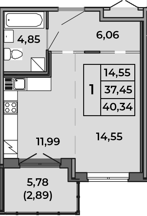 Студия, 40.34 м²– 2