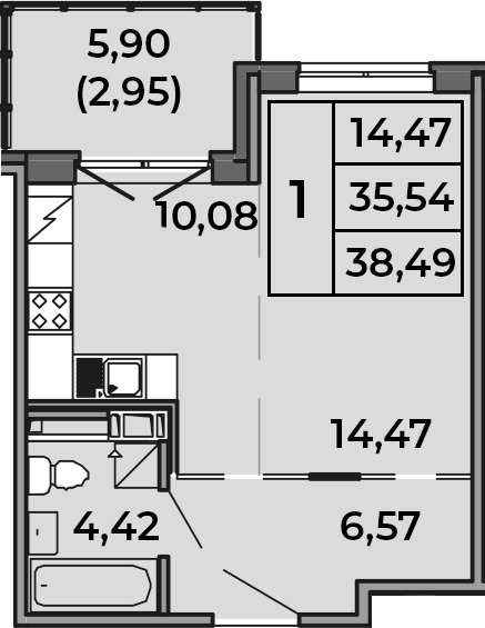 Студия, 35.54 м², 4 этаж