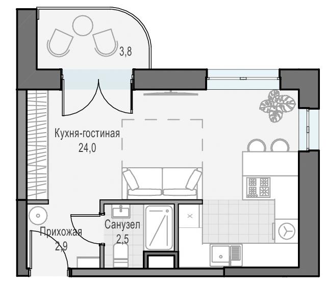 Студия, 30.5 м², 5 этаж