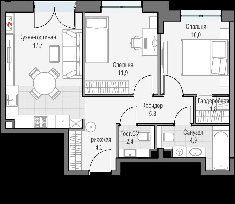 3Е-к.кв, 58.8 м², 27 этаж