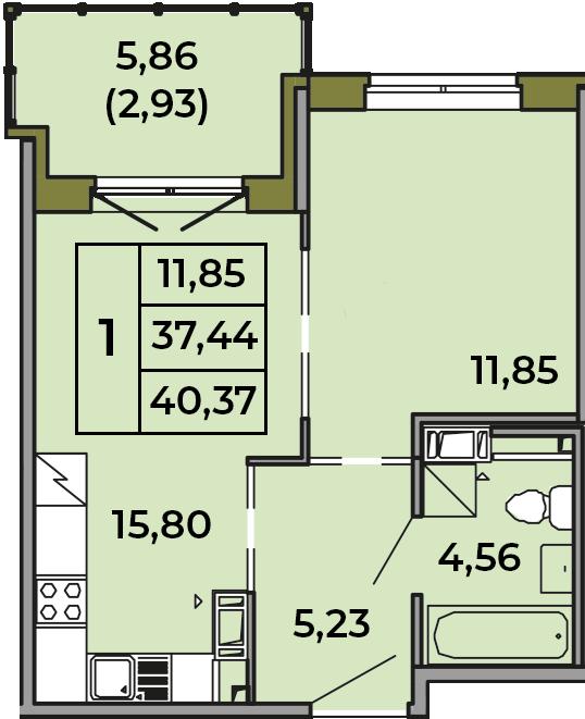 2Е-комнатная, 37.44 м²– 2