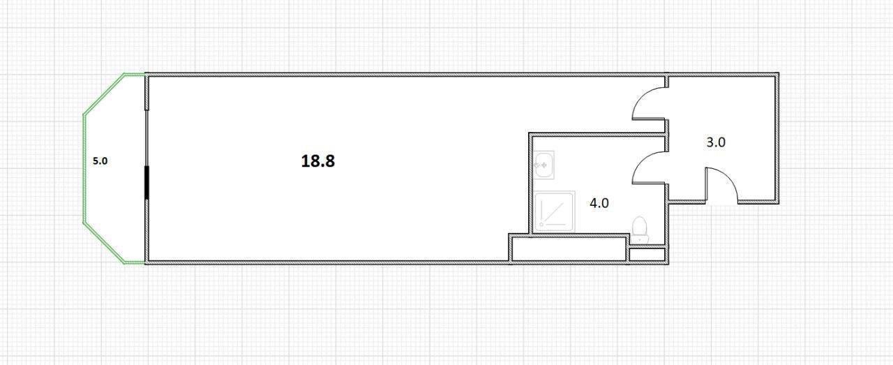 Студия, 30.8 м²