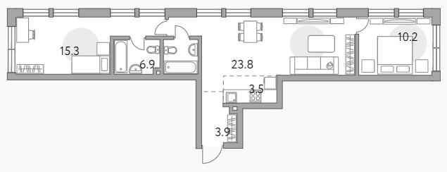 3Е-к.кв, 63.6 м²